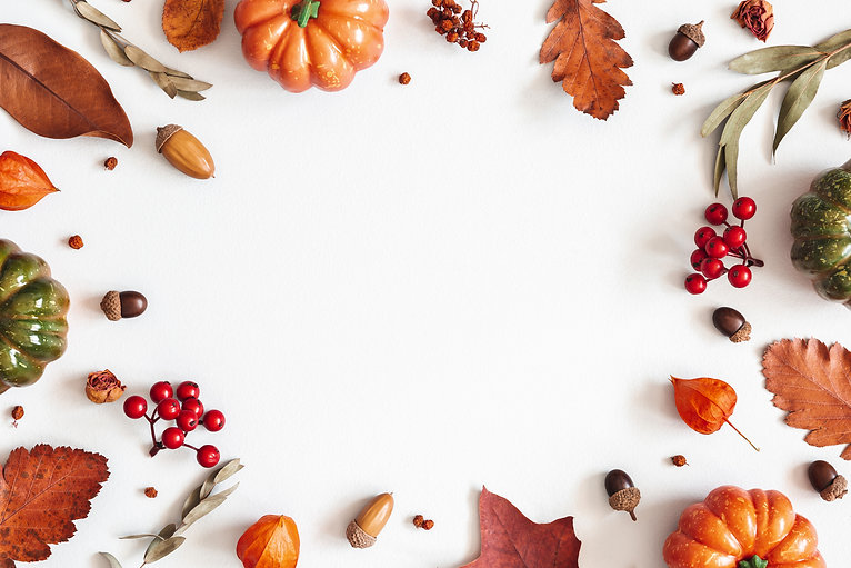 Autumn composition. Dried leaves, pumpki