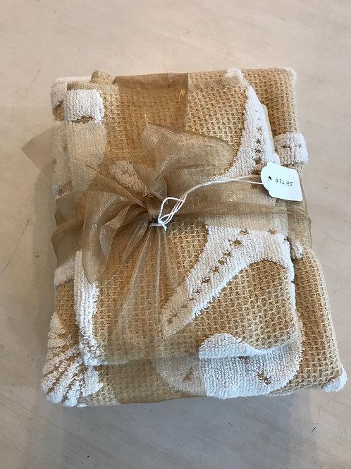 Hand towel set - gold/white