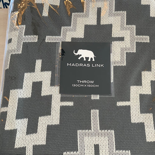 MADRAS LINK - Crosses Grey Throw