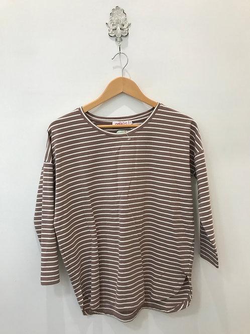 Long Sleeve Stripe Top - Rust/white
