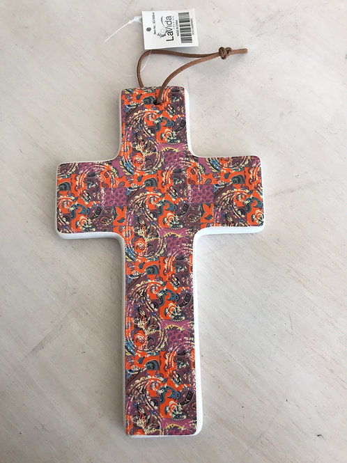Ceramic hanging cross - paisley large