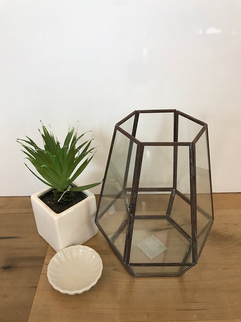 Glass & Rubbed Metal Candle Holder