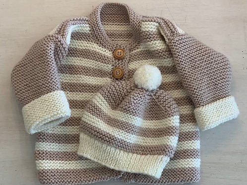 WENDY'S HANDKNITS - Baby Jacket and Hat Set (fawn)