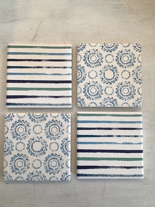 COASTERS - Ocean Blue Abstract Print