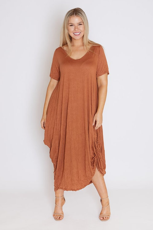 COTTON VILLAGE Frankie Dress - Rust Colour