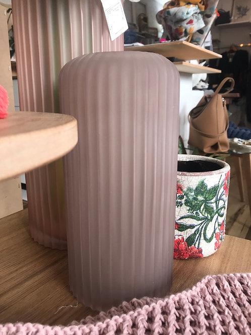 Dusty Mauve Fluted Glass Vase