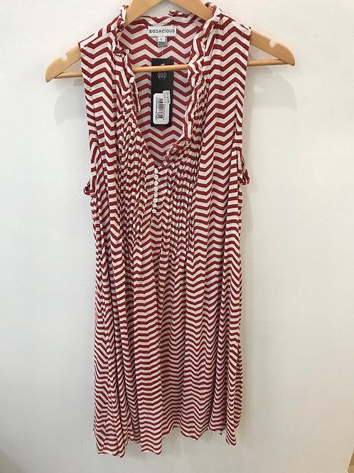 Rust and White Chevron Pattern Sleeveless Dress