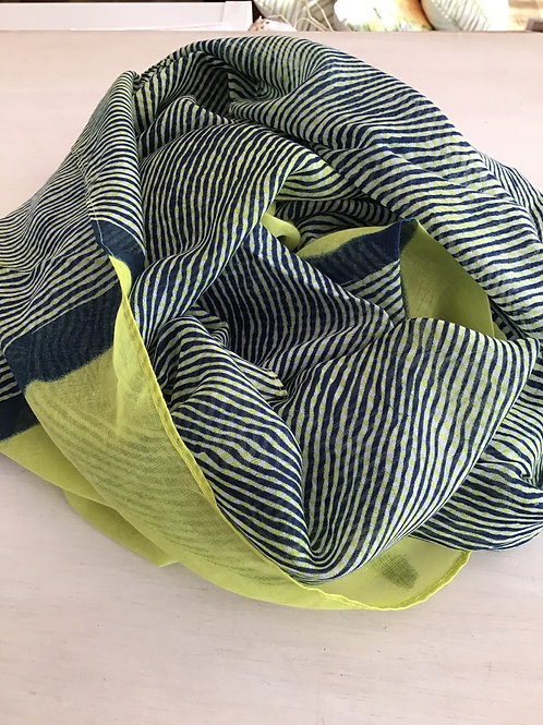 Lime Navy Scarf