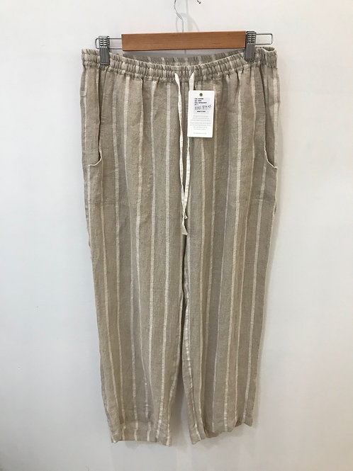 Linen Natural and White Straight Leg Pant