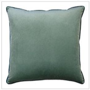 Clifton Piped Velvet Cushion Seafoam