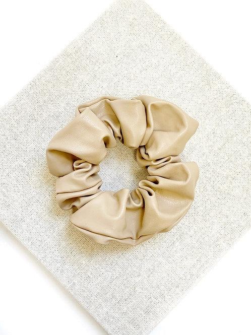 ANGEL WISHES - Leather Hair Scrunchie (Beige)