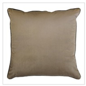 Clifton Piped Velvet Cushion Fawn