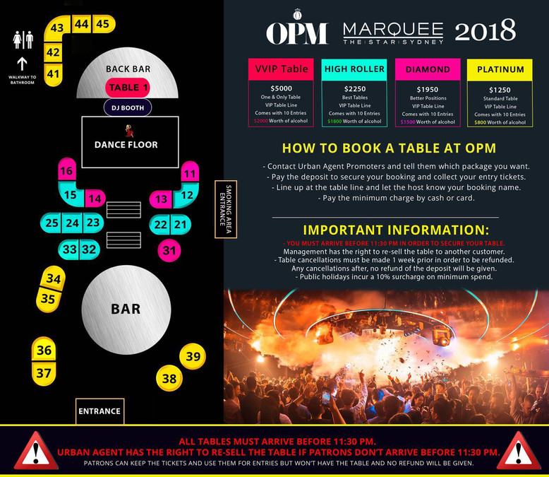 OPM Table Bookings
