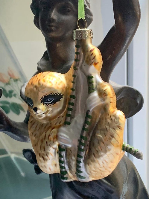 Gold sloth glass bauble