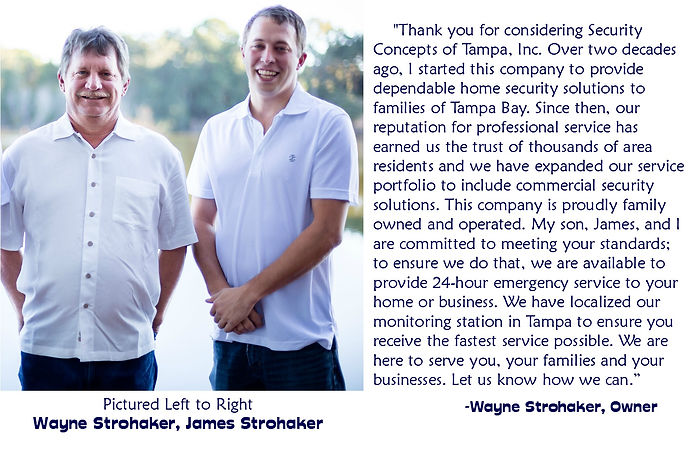 Father-son duo, Wayne and James Strohaker, Security Concepts of Tampa, Inc Owner About Us