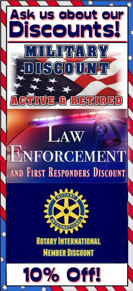 We Offer Military, Law Enforcement and First Responders Discount