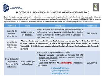 Proceso de Reinscripción al Semestre Agosto - Diciembre 2020