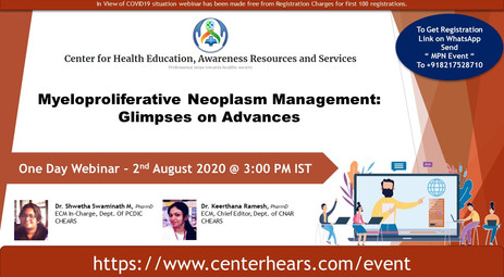 Last two days for Webinar Registration: Myeloproliferative Neoplasm Management: Glimpses on Advances