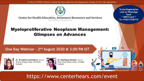 Webinar : Myeloproliferative Neoplasm Management: Glimpses on Advances