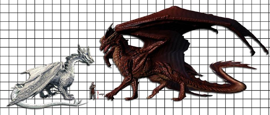 Сравнительные размеры драконов и человека