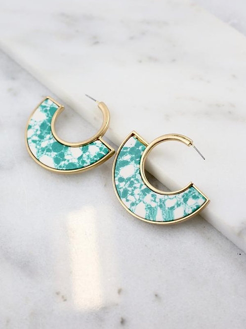 Metal Gold and Marble Green Hoop Earrings