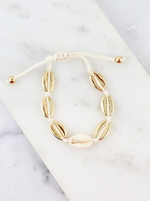 Cord Pull Tie Bracelet Shell Gold
