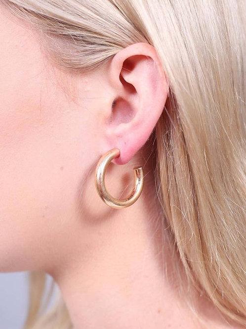 Gold Small Tube Post Hoop Earrings