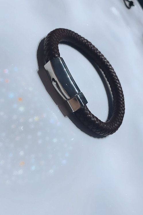 Stainless Steel-Leather Braided Bracelet
