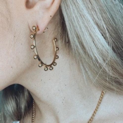 C-shaped hoop earrings