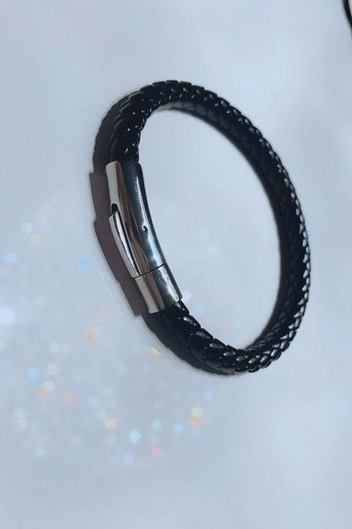 Stainless Steel Braided Leatherette Bracelet