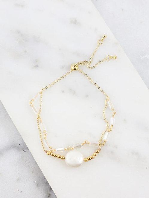 Bead adjustable pearl bracelet