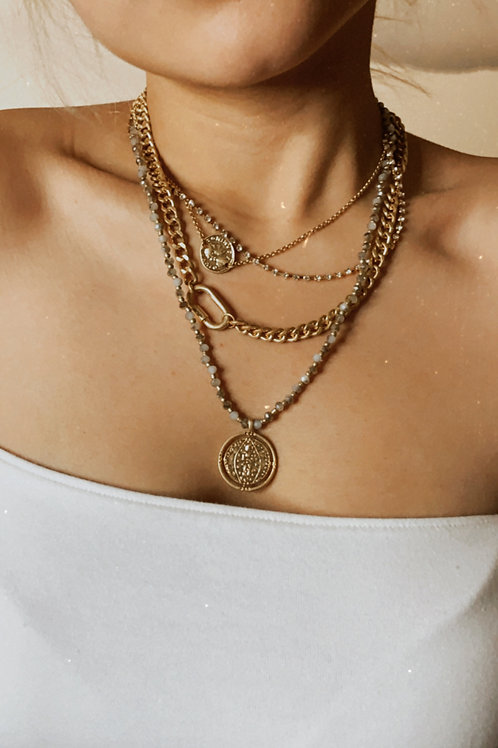 Coin Charm Worn Layered Necklace
