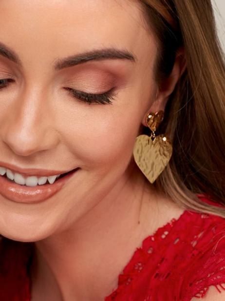 Gold Heart Drops Earrings