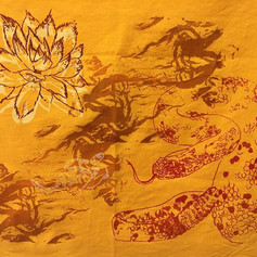 100% hand dyed, hand printed cotton. approximately 20x30. Wall hanging. Original price: 150$ Sale price: 60$