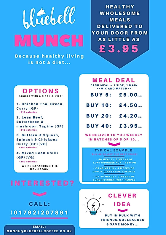 Our Restaurants healthy meal preps Bluebell MUNCH menu
