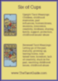 Six of Cups Tarot Flashcard showing the best keyword meanings for the upright & reversed card, free online Minor Arcana flashcards, made by professional psychic Tarot reader, The Tarot Guide, the easy way to learn how to accurately read Tarot.
