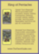 King of Pentacles Tarot Flashcard showing the best keyword meanings for the upright & reversed card, free online Minor Arcana flashcards, made by professional psychic Tarot reader, The Tarot Guide, the easy way to learn how to accurately read Tarot.