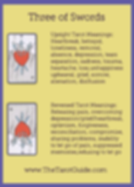 Three of Swords Tarot Flashcard showing the best keyword meanings for the upright & reversed card, free online Minor Arcana flashcards, made by professional psychic Tarot reader, The Tarot Guide, the easy way to learn how to accurately read Tarot.