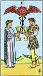 Two of Cups Tarot Upright Meaning by The Tarot Guide, Learn How to Read Tarot Cards, Minor Arcana, General Interpretation, Love, Relationships, Money, Finance, Health, Spirituality, Keywords, Tarot Reading, Tarot Readers, Psychic, Clairvoyant, Reiki, Palm, Online, Skype, Email, In-person Tarot Readings, Dublin, Ireland, UK, USA, Canada, Australia, How Someone Sees You, Feels About You, Job Offer, Feelings¸ Outcome