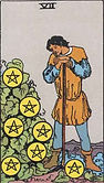Seven of Pentacles Tarot card upright and reversed meaning by The Tarot Guide, Minor Arcana, Seven of Pentacles Tarot, Tarot reading, free Tarot, Tarot Seven of Pentacles, Seven of Pentacles reversed, Seven of Pentacles Tarot reversed, Seven of Pentacles