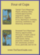 Four of Cups Tarot Flashcard showing the best keyword meanings for the upright & reversed card, free online Minor Arcana flashcards, made by professional psychic Tarot reader, The Tarot Guide, the easy way to learn how to accurately read Tarot.
