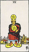 Four of Pentacles Tarot card upright and reversed meaning by The Tarot Guide, Minor Arcana, Four of Pentacles Tarot, Four of Pentacles reversed, Tarot card reading, Tarot reading, free Tarot, Tarot Four of Pentacles, , Four of Pentacles Tarot reversed,