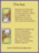 The Sun Tarot flashcard upright and reversed meaning by The Tarot Guide, Major Arcana, free Tarot reading, Online Tarot, Love Tarot, career Tarot, lotus tarot, clairvoyant, palm reading, chakra, chakras, wicca, tarot reader Miami,