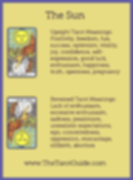 The Sun Tarot flashcard upright and reversed meaning by The Tarot Guide, Major Arcana, free Tarot reading, Online Tarot, Love Tarot, career Tarot, lotus tarot, clairvoyant, palm reading, chakra, chakras, wicca, tarot reader Miami,