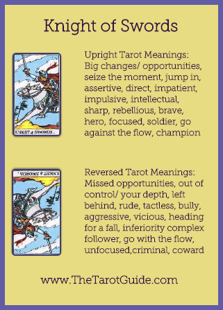 Knight of Swords Tarot Flashcard showing the best keyword meanings for the upright & reversed card, free online Minor Arcana flashcards, made by professional psychic Tarot reader, The Tarot Guide, the easy way to learn how to accurately read Tarot.