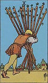 Ten of Wands Tarot card upright and reversed meaning by The Tarot Guide, Minor Arcana, Ten of Wands Tarot, Tarot card meanings, Ten of Wands Tarot card, Ten of Wands Tarot meaning, Ten of Wands Tarot reading, Tarot card reading, Tarot reading, UK, Ireland