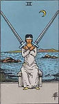 Two of Swords Tarot Upright Meaning by The Tarot Guide, Learn How to Read Tarot Cards, Minor Arcana, General Interpretation, Love, Relationships, Money, Finance, Health, Spirituality, Keywords, Tarot Reading, Tarot Readers, Psychic, Clairvoyant, Reiki, Palm, Online, Skype, Email, In-person Tarot Readings, Dublin, Ireland, UK, USA, Canada, Australia, How Someone Sees You, Feels About You, Job Offer, Feelings¸ Outcome