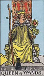 Queen of Wands Tarot Upright Meaning by The Tarot Guide, Learn How to Read Tarot Cards, Minor Arcana, General Interpretation, Love, Relationships, Money, Finance, Health, Spirituality, Keywords, Tarot Reading, Tarot Readers, Psychic, Clairvoyant, Reiki, Palm, Online, Skype, Email, In-person Tarot Readings, Dublin, Ireland, UK, USA, Canada, Australia, How Someone Sees You, Feels About You, Job Offer, Feelings¸ Outcome