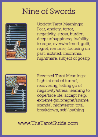 Nine of Swords Tarot Flashcard showing the best keyword meanings for the upright & reversed card, free online Minor Arcana flashcards, made by professional psychic Tarot reader, The Tarot Guide, the easy way to learn how to accurately read Tarot.
