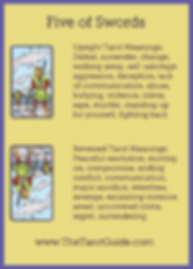 Five of Swords Tarot Flashcard showing the best keyword meanings for the upright & reversed card, free online Minor Arcana flashcards, made by professional psychic Tarot reader, The Tarot Guide, the easy way to learn how to accurately read Tarot.